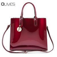 Роскошные Дизайнерские красные Лакированная кожа сумки с ручкой Для женщин от известного бренда, женские лакированные сумки из натурально...
