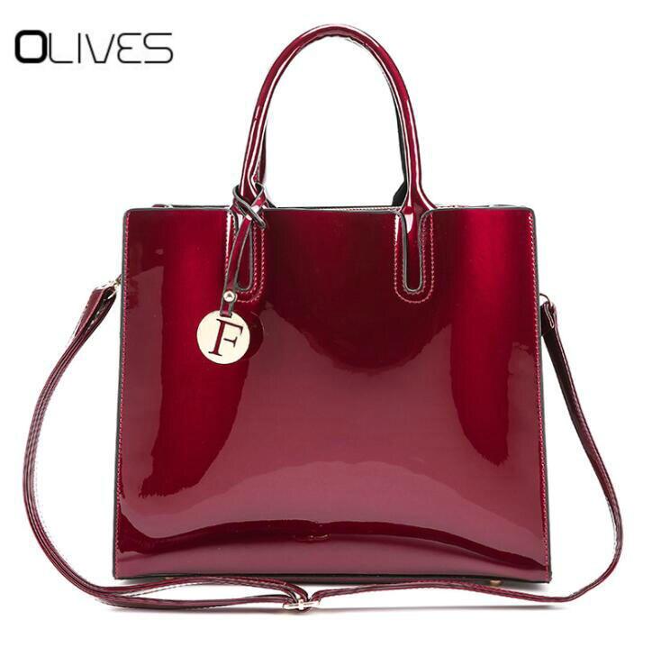 100% QualitäT Luxus Designer Red Patent Leder Tote Tasche Handtaschen Frauen Berühmte Marke Dame Lackiert Handtasche Taschen Für Frauen Schulter Tasche Sac Geeignet FüR MäNner Und Frauen Aller Altersgruppen In Allen Jahreszeiten