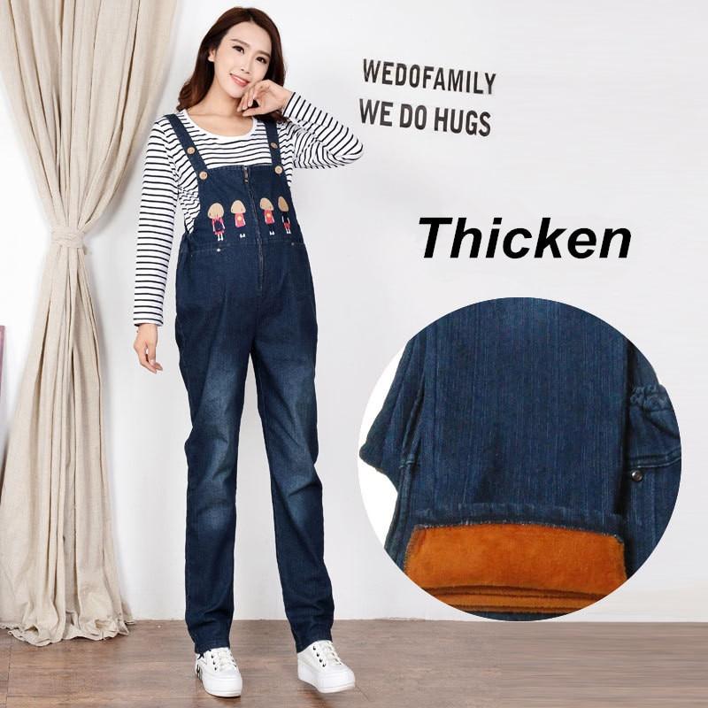 Maternity Clothes Trousers Cotton Winter Pregnant Woman Denim Overalls Pregnancy Clothes Jeans For Pregnant Women Pants Uniforms