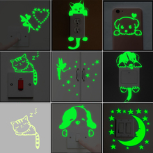 Cartoon Luminous Switch Sticker Glow in the Dark Wall Stickers Home Decor Kids Room Decoration Sticker Decal Cat Fairy Moon Star cheap Modern Window Stickers For Wall Switch Panel Stickers For Smoke Exhaust For Cabinet Stove For Tile Furniture Stickers For Refrigerator