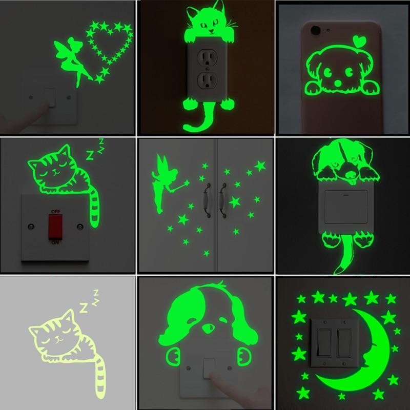Cartoon Luminous Switch Sticker Glow in the Dark Wall Stickers Home Decor Kids Room Decoration Sticker Decal Cat Fairy Moon Star|Wall Stickers|   - AliExpress