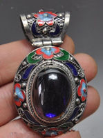 Exquisite Chinese ancient Tibetan silver cloisonne inlaid with artificial zircon pendant