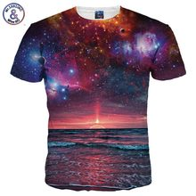 Mr.1991INC Nice Style Men/women 3d T-shirt Digital Print Dusk Seaview Space Galaxy Tshirts Summer Tops Tees Fashion