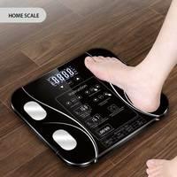 Весы для ванной комнаты, светодиодный электронный цифровые весы для тела, жир, умные бытовые весы для взвешивания, соединяющие состав, весы ...