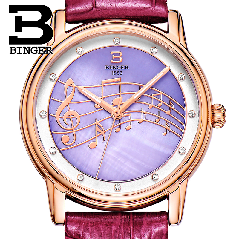 Happy Hour Music Note Women Crystals Watches Imported Japan Quartz Elegant Lady Real Leather Wrist watch Shell Analog Watch 3Bar