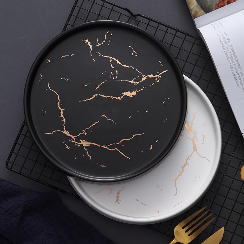 20cm Gold Black White Marble Ceramic Plate Porcelain dinnerware Set Kitchen Table European Style Decoration Dessert Steak Plate