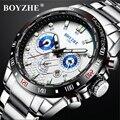 BOYZHE Хронограф механические наручные часы Tourbillon спортивные автоматические часы Скелетон мужские полностью стальные деловые relogio masculino
