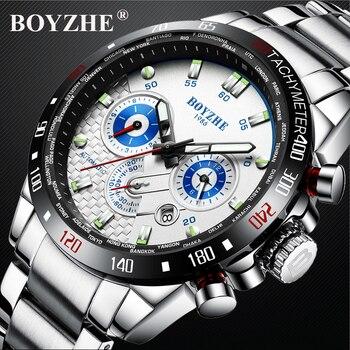 BOYZHE Chronograph Mechanical Wristwatches Tourbillon Sport Automatic Watch Skeleton Men Full Steel Business relogio masculino