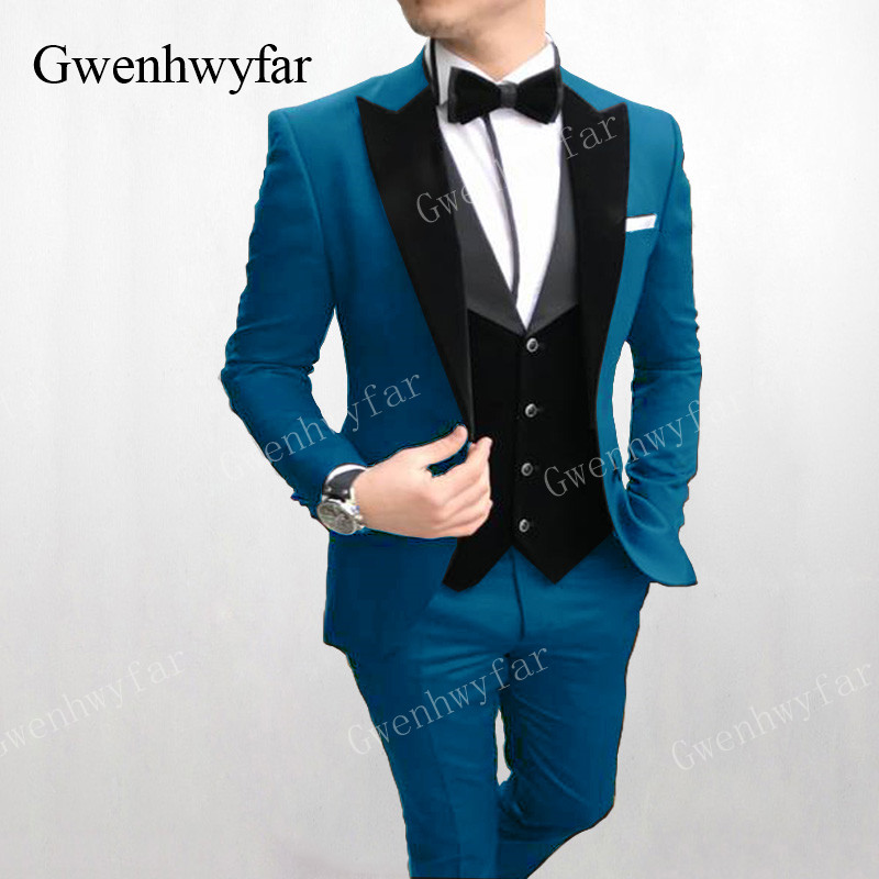 Gwenhwyfar 衣装オム湖ブルーフォーマルウェディングスーツカスタムメイドメンズスーツ Ternos Masculino スリムフィットタキシード 3 個  グループ上の メンズ服 からの スーツ の中 1