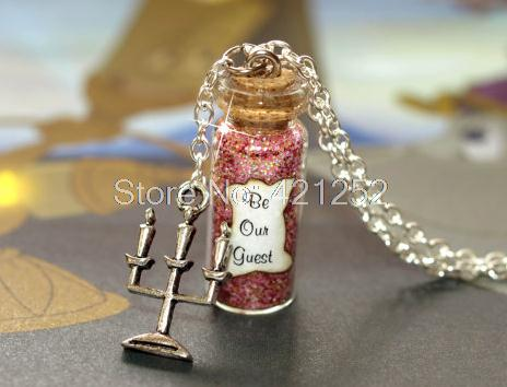12pcs Beauty and the Beast, Be Our Guest Magical glass Bottle Necklace with a Lumiere Candelabra Charm Inspired necklace