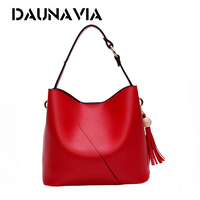 DAUNAVIA Fashion Bucket Ladies Bags Pu Leather Luxury Handbags Women S Bags Designer Famous Brand Tassel
