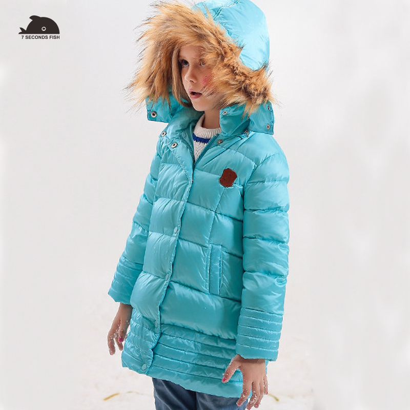 Children Winter Jacket Girl Winter Coat Kids Warm Thick Fur Collar Hooded long down Coats For Teenage 4Y-13Y 2018 New Fashion anime adult cosplay costume halloween christmas party dress clothing olaf mascot minnie animal mouse funny pants