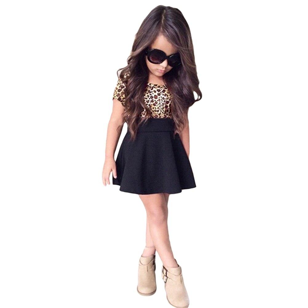 2016 fashion summer cute kids girl dress leopard print Fashion style for short girl