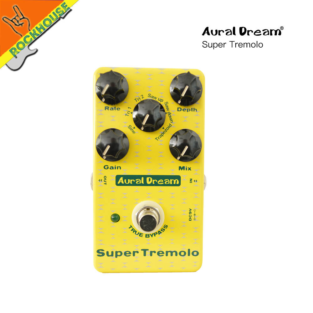 Auraldream Super Tremolo Guitar Effects Pedal Tremolo Guitarra Pedal Stompbox 6 models Analog Sound True Bypass Free Shipping new pegasus overdrive pedal guitar effects pedal high power drive booster tube overload stompbox true bypass free shipping