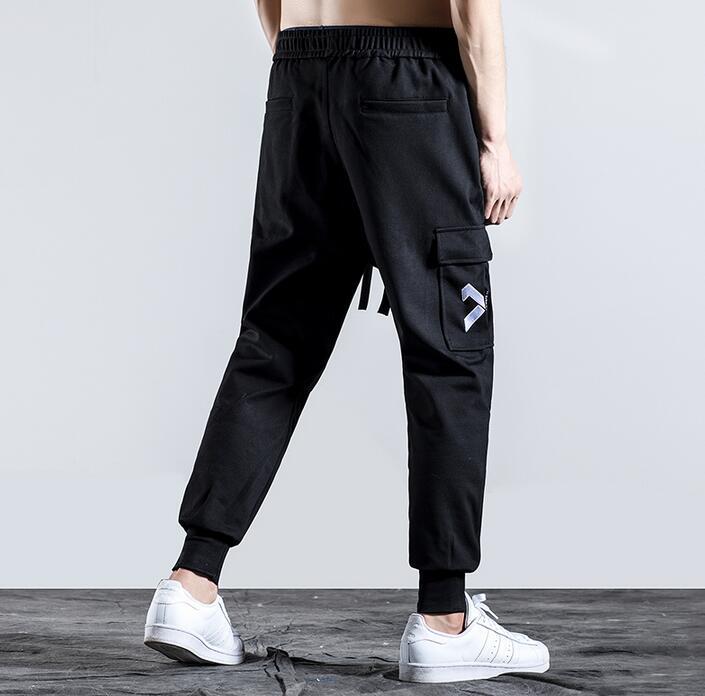 Black personality fashion mens slim pants casual harem pant men feet trousers pantalones hombre cargo pantalon homme autumn