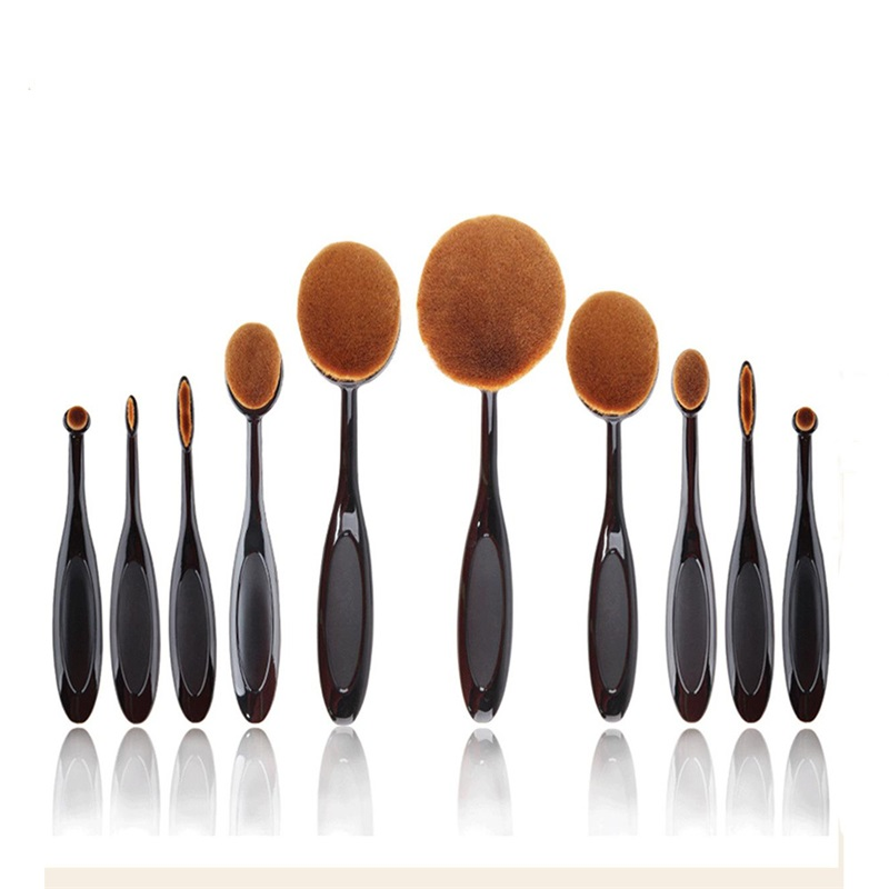 10pcs Black Makeup Brushes Set Tooth Brush Shape Oval MULTIPURPOSE Face Foundation Powder Cream Make Up Cosmetic Tools Kits ноутбук hp 15 ba048ur 15 6 amd a6 7310 2 4ghz 4gb 1tb hdd x5c26ea