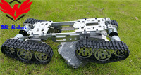 4WD Metal Smart Tank Car Chassis With 4 Motors Caterpillar DIY Tracked Crawler Roboitic Model Mobile Climbing Platform RC Remote