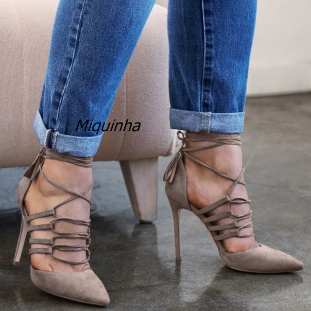 9c9f5a903d1 Elegant Grey Suede Cross Strap fringe Heels Sexy Cut-out Pointy Stiletto Heel  Pumps Pretty Women Ankle Lace Up Tassel Dress Shoe