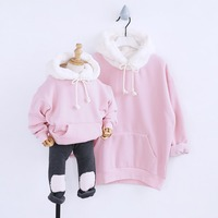 HT2250 whinter Girl Clothes Mother Daughter Sweatshirt Parent child Costume Family Match Outfits Kids Plus thick velvet Hoodies