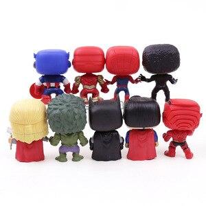 Image 4 - Экшн фигурки супергероев DC, Мстители, Капитан Америка, Железный человек, Человек паук, Черная пантера, Тор, ПВХ, 9 шт./компл.