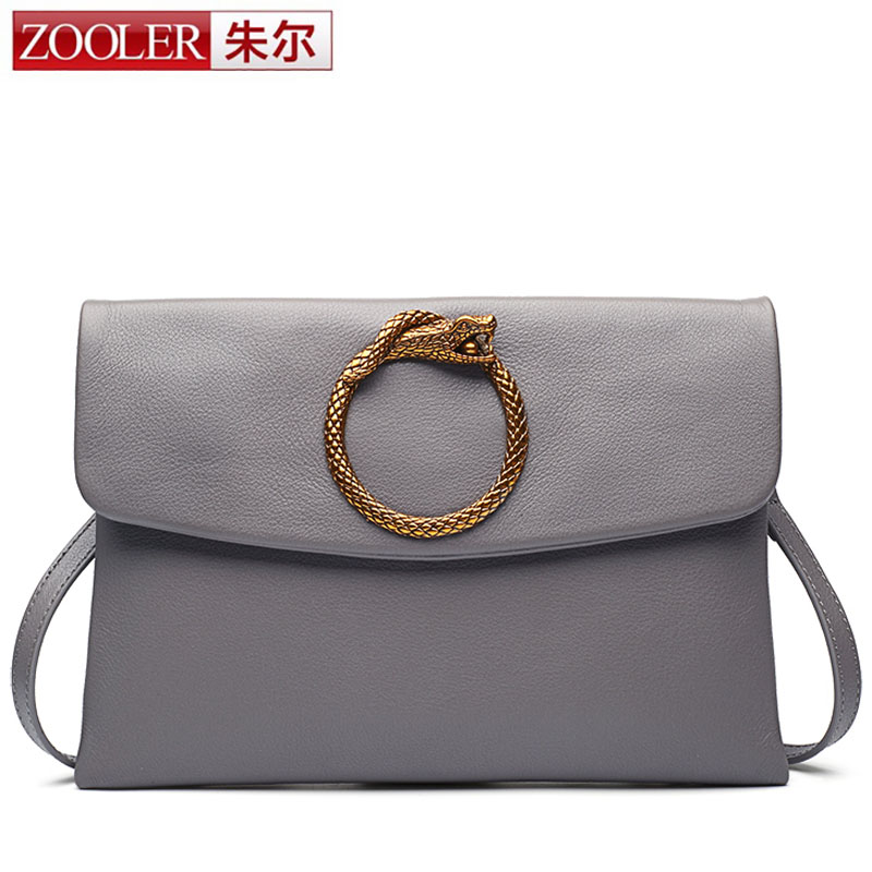 ZOOLER New Snake Design Bag Fashion Real Leather Bag for Women Gold Ring Messenger Crossbody Bags Female Clutch Shoulder Bag Sac yuanyu real snake skin women bag new decorative pattern women chain bag fashion inclined single shoulder women bag