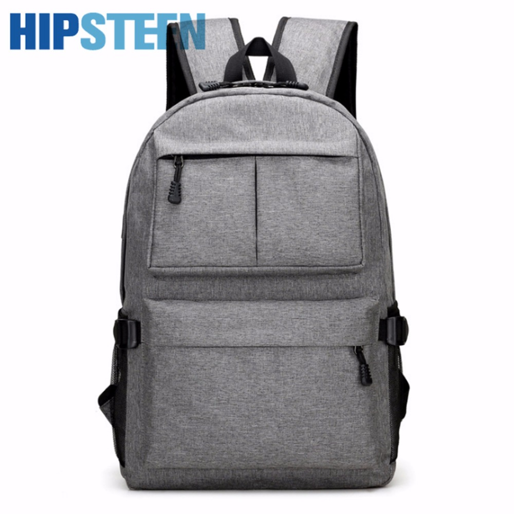 HIPSTEEN Fashion Oxford Cloth Male Travel Backpacks Shoulder Bags Big Large Capacity Backpack School Bag With USB Charging Port