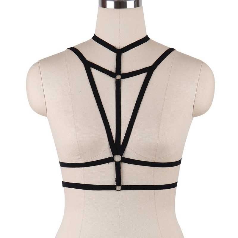 Sexy Lingerie Harness Body Cage Top Band Beha Riem Hollow Out Plus Size Pentagram Accessoire Goth Punk Vrouwen Dans Rave dragen
