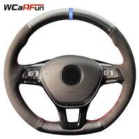 Carbon Fiber Leather Black Suede blue Marker Steering Wheel Cover for Volkswagen VW Golf 7 Mk7 New Polo Jetta Passat B8 Tiguan