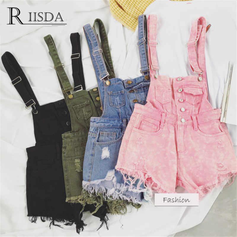Женские джинсовые комбинезоны RIISDA, корейские Стильные комбинезоны, женский джинсовый комбинезон, хлопковый спортивный костюм на бретельках, женские высокие комбинезоны с талией