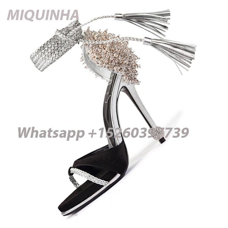New Arrival Sweet Women Embellished Pearl Heel Sandals Luce Up Fashion Fringe Crystal Thin Heel Stiletto Pumps Women Praty Shoes