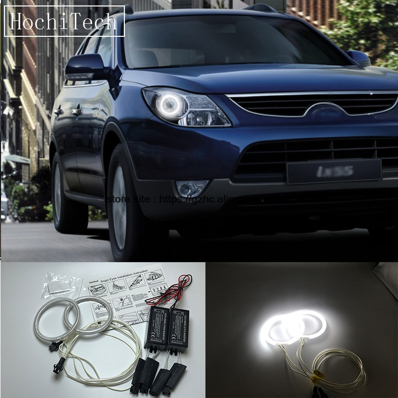 HochiTech For Hyundai veracruz ix55 2007-2012 Ultra Bright Day Light DRL CCFL Angel Eyes Demon Eyes Kit Warm White Halo Ring hochitech white 6000k ccfl headlight halo angel demon eyes kit angel eyes light for vw volkswagen golf 5 mk5 2003 2009