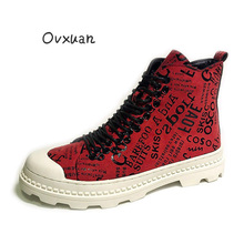 Genuine OVXUAN Mens Casual Designer Shoes Men Vintage Ankle Boots British Luxury Red Leather Wedge Shoes Hip Hop Martin Boots the european men s leather boots martin station vintage trend of korean men s boots high shoes breathable casual shoes