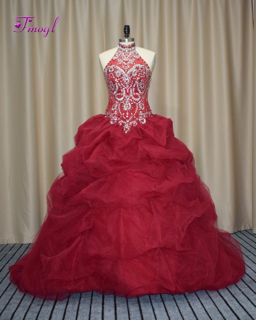 cbe248b2d05 Fmogl New Arrival Halter Lace Up Burgundy Quinceanera Dresses 2019 Luxury Crystal  Beaded Debutante Dress For Vestido de 15 anos