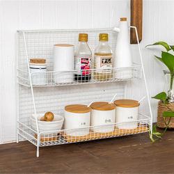 Multifunctional wrought iron storage rack kitchen double-layer spice bottle finishing shelf metal bathroom toiletries organizer