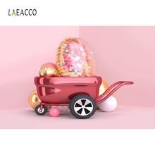Laeacco Pink Balloon Cartoon Car Newborn Baby Portrait Photography Background Customized Photographic Backdrops for Photo Studio pastel pink color princess baby girl photo shoot background printed flowers newborn photography props kids portrait backdrops