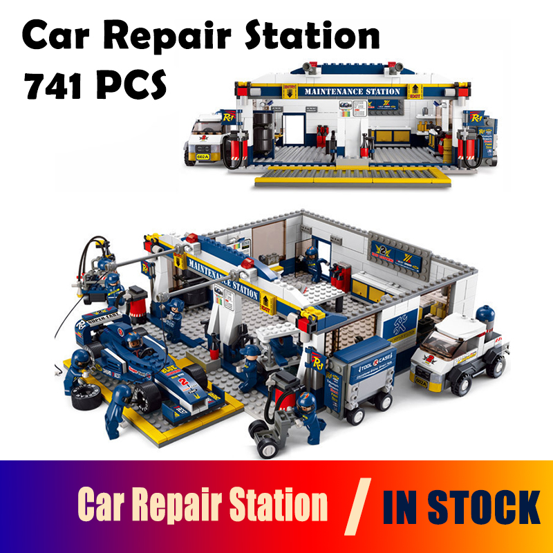 Model building kits compatible with lego city 0356 741pcs F1 Racing Car Repair Station blocks toys hobbies for children lepin 02012 city deepwater exploration vessel 60095 building blocks policeman toys children compatible with lego gift kid sets