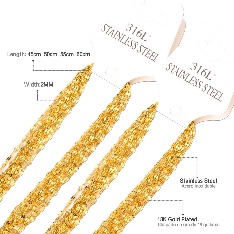 LUXUSTEEL kubański Link Chain 10 sztuk/partia ze stali nierdzewnej 45 cm/50 cm/55 cm/60 cm złoto/srebrne łańcuszki biżuteria kobiety/mężczyźni DIY wisiorki