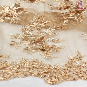 La Belleza new design lace ,gold 3D flowers lace fabric,rose pink 3D flowers lace fabric evening dress lace fabric 1 yard(China)