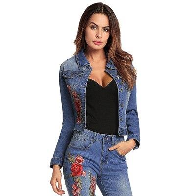 En Broderie Mujer Jean Parka Printemps Denim Chaqueta Nouvelle Vintage 2019 Femme Outwear Lx57 Veste Femmes Blue Courte Manche Longue qgnzH0v