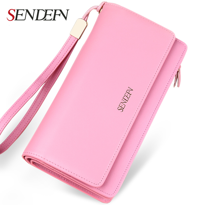 Sendefn 2018 new Fashion Lady Genuine Leather Wallet Female Purse Long Clutch Women Wallet Card Holder Purse Coin Purse 10x auto t20 7440 w21w cob led car s25 wy21w backup external light stop reverse light rear front signal light source xenon lamp