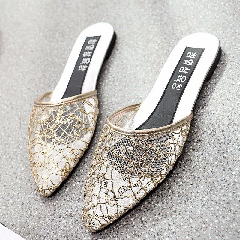 Новые женские шлепанцы Тапочки из сетчатого материала для внешних летняя модная обувь на квадратном каблуке черный, серебро, золото сандал...