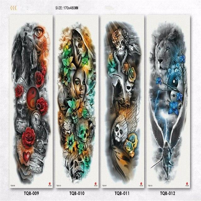 Autocollant tatouage temporaire imperméable horloge oeil oiseau pagode bras complet grande taille faux tatto flash tatoo manches tato pour hommes femmes