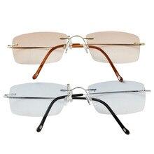 Чашма Женщин и Мужчин Без Оправы Кадров Titanium Очки Солнцезащитные Очки Бифокальные Очки Для Чтения Металл Очки С Case