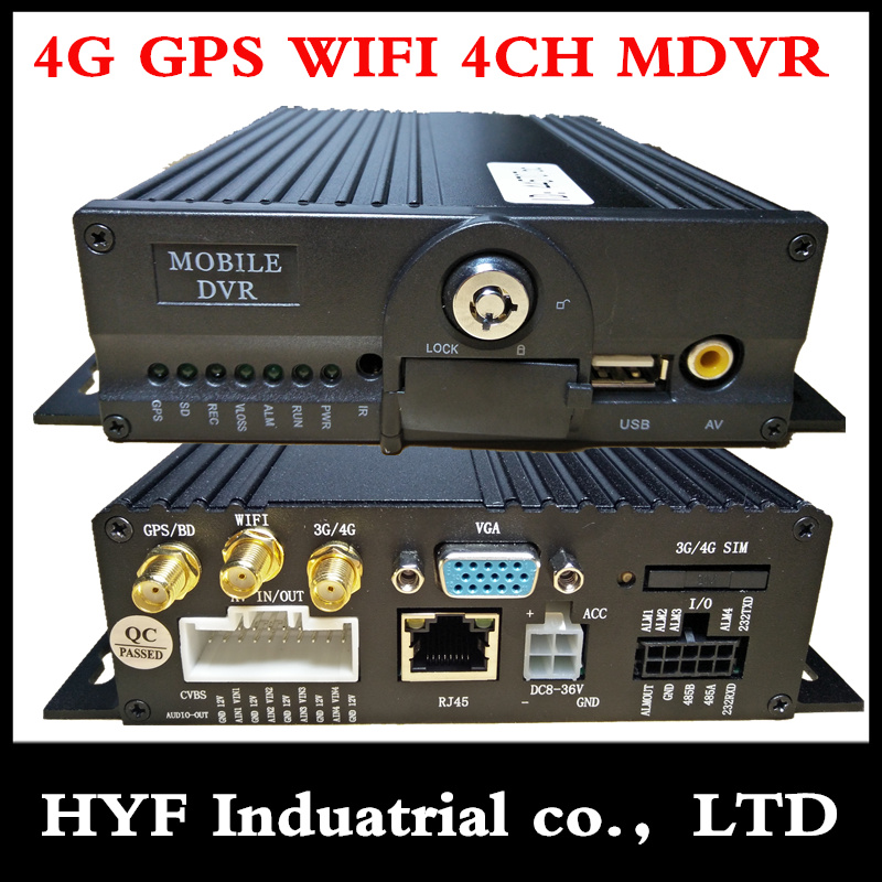 MDVR 4G MObile dvr gps wifi hd 4ch ahd double sd carte camion/bus Haute définition dossier de conduite surveillance d'alarme hôte