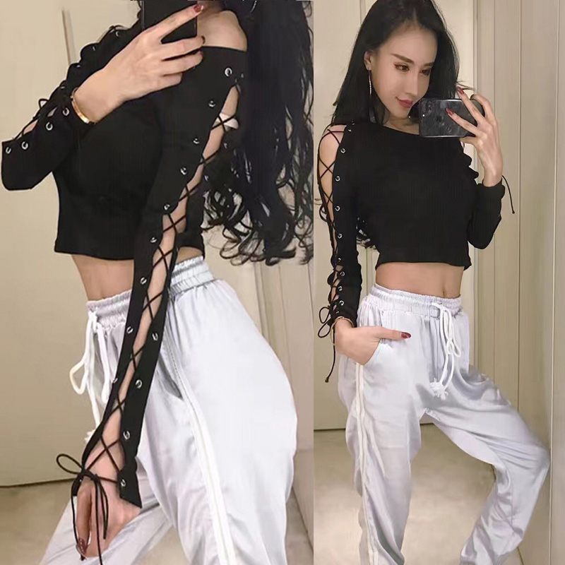 Jazz Dance Long Sleeve Costumes Girls Hollow Out T-shirt Clothes Black Tight For Women Street Dance HipHop Sexy Clothing DQT1190