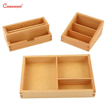 Montessori Kids Teaching Box for Cards Beech Wooden Educational Preschool Children Card Holding Tray Toy Baby 3-6 Years BO059-A3 montessori language toys exercise large movable alphabet capital box preschool teaching kids educational toy beech wood la024 q3