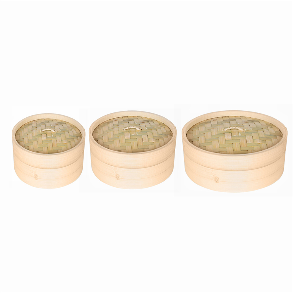 1 Cage And 1 Cover Cooking Bamboo Steamer Fish Rice Vegetable Snack Basket Set Kitchen Cooking Tools Vaporera Bambu Cookware