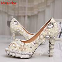 Miquinha Crystal Pearl Flower Pattern Women Pump Peep Toe Shallow Bling Bridal Wedding Party Shoes Sexy