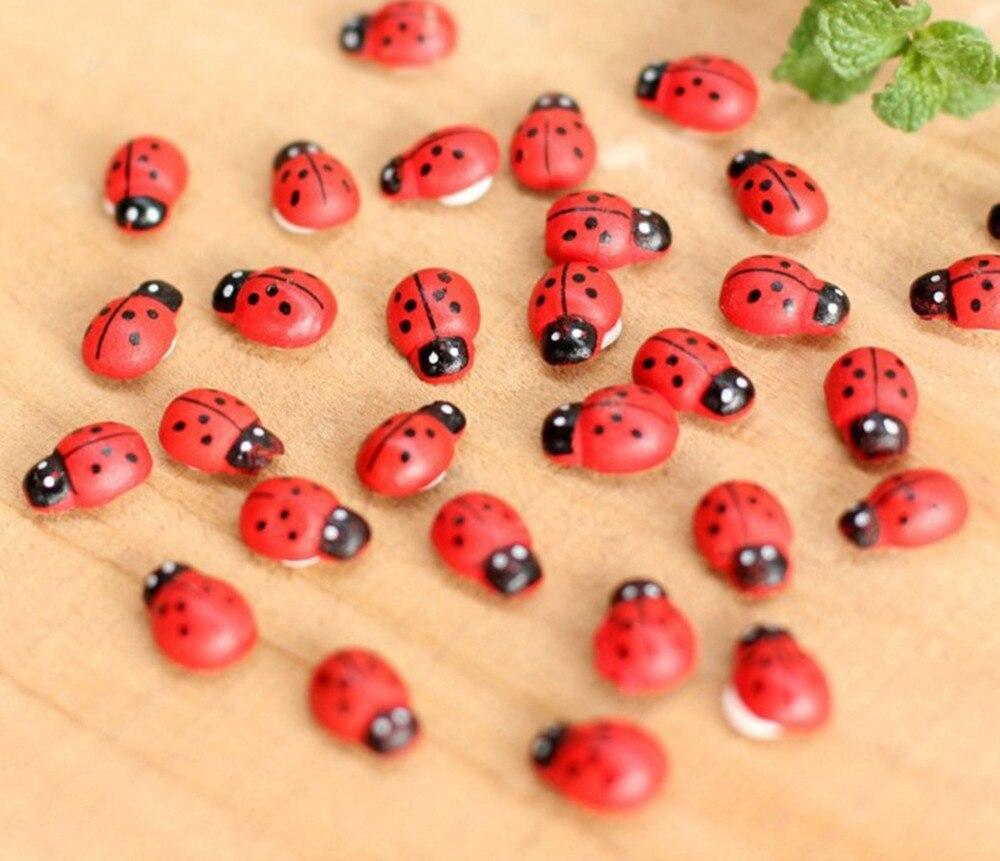10 шт. миниатюрные украшения Coccinella Septempunctata изделие из смолы «сделай сам» маленький садовый декор Superba дерево