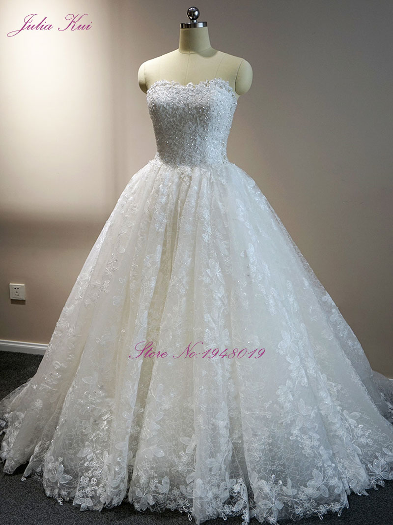 Julia Kui Strapless Neckline A Line Princess Wedding Dress Chapel ...